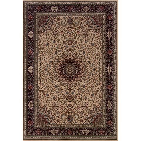 "Astoria Ivory/ Black Traditional Area Rug (10' x 12'7) - 10' x 12'7"""