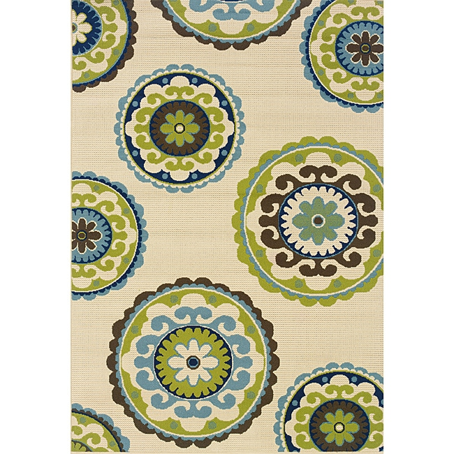"Modern Ivory/Green Outdoor Area Rug (8'6"" x 13')"