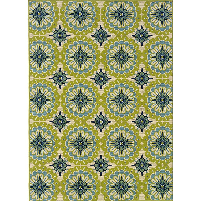 Green/ Ivory Outdoor Area Rug (8'6 x 13')