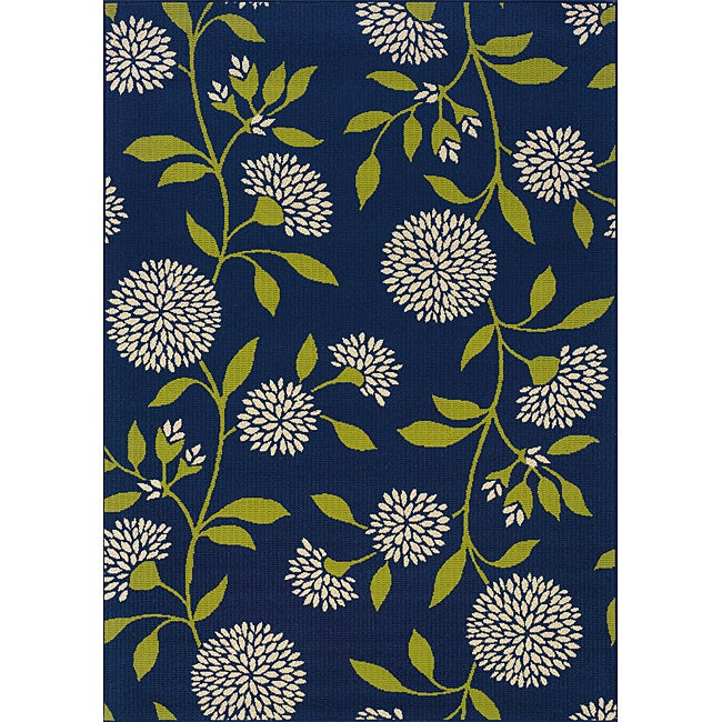 Blue/ Green Outdoor Area Rug (8'6 x 13')