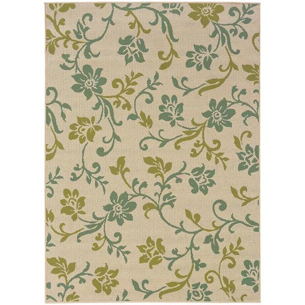 StyleHaven Floral Ivory/Green Indoor-Outdoor Area Rug - 8'6 x 13'