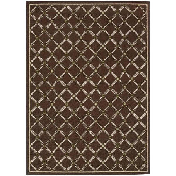 StyleHaven Lattice Brown/Ivory Indoor-Outdoor Area Rug (8'6x13')