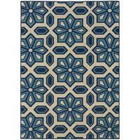 Carson Carrington Naestved Tiles Ivory/Blue Indoor-Outdoor Area Rug - 8'6 x 13'