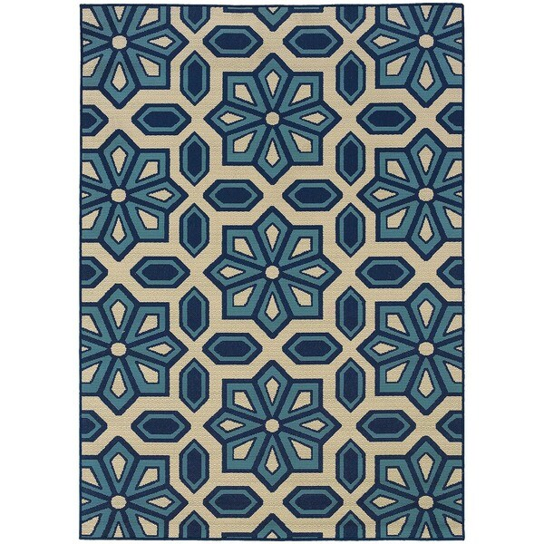 Carson Carrington Naestved Tiles Ivory/Blue Indoor-Outdoor Area Rug - 8'6 x 13'
