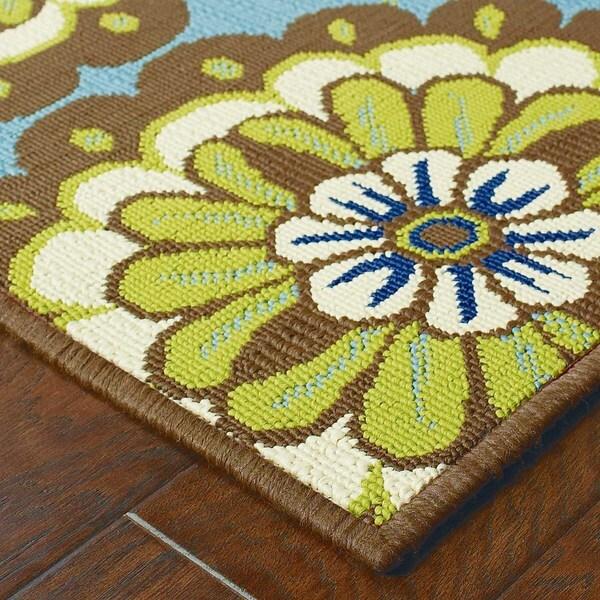 StyleHaven Floral Blue/Brown Indoor-Outdoor Area Rug (8'6x13')