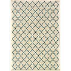 Ivory/Blue Outdoor Area Rug (8'6 x 13')