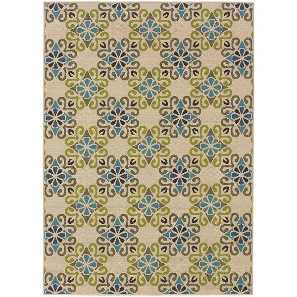 StyleHaven Floral Ivory/Blue Indoor-Outdoor Area Rug (8'6x13') - 8'6 x 13'