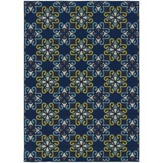StyleHaven Floral Blue/Green Indoor-Outdoor Area Rug (8'6x13')