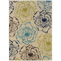 StyleHaven Floral Ivory/Blue Indoor-Outdoor Area Rug - 8'6x13'