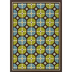 Brown/Blue Outdoor Area Rug (8'6 x 13')