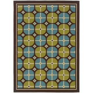 StyleHaven Tile Brown/Blue Indoor-Outdoor Area Rug (8'6x13')