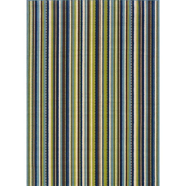Blue and Brown Outdoor Area Rug (8'6 x 13)