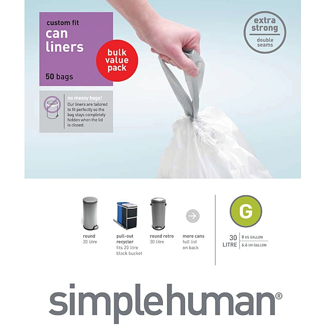 simplehuman custom fit 8gallon trash can liners pack of 50