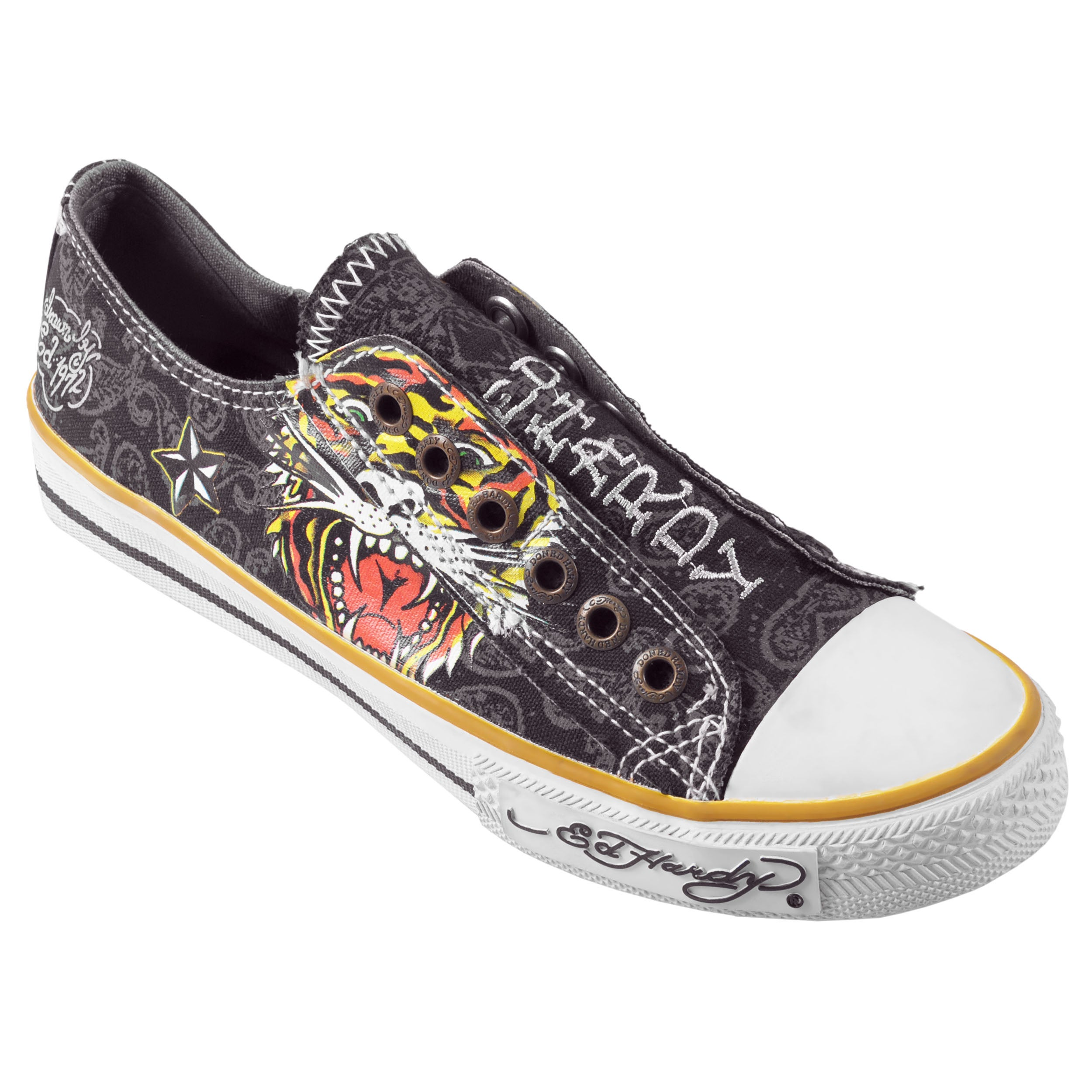 Ed Hardy Women's Black Low-Rise Graphic Print Slip-On Sneakers