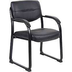 Boss Black Metal LeatherPlus Guest Chair
