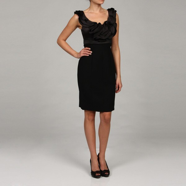 JS Collections Women's Black Ruffle Neck Dress