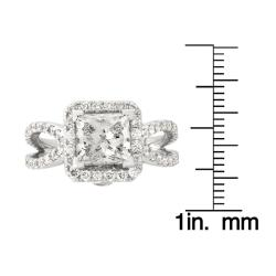 Montebello 14k White Gold 3 1/8ct TDW Princess-Cut Diamond Engagement Ring (G-H, SI2)