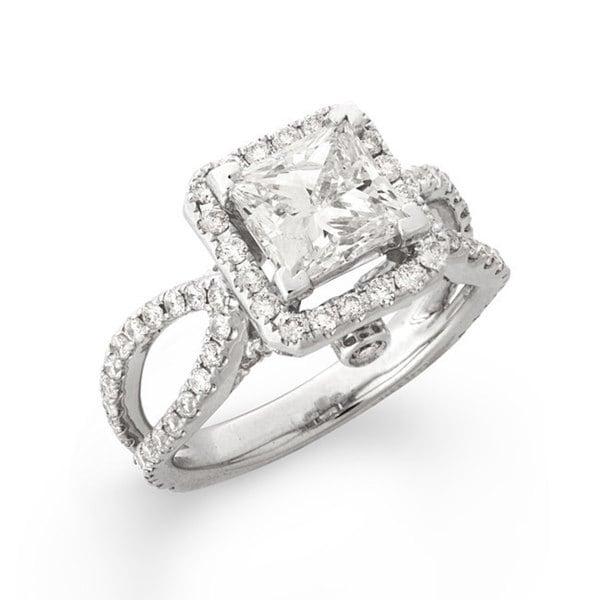 Montebello 14k White Gold 3 1/8ct TDW Princess-Cut Diamond Engagement Ring (G-H, SI2)