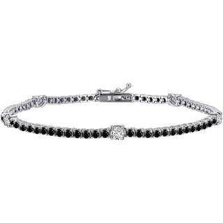 Auriya 14k Gold 3ct TDW Black and White Diamond Tennis Bracelet