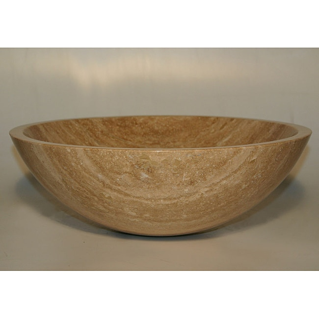 Stone Bowl Basin : Silkroad Exclusive Travertine Stone Vessel Sink Bowl Lavatory Basin ...