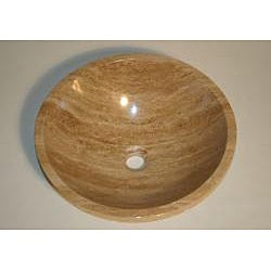 Silkroad Exclusive Travertine Stone Vessel Sink Bowl Lavatory Basin