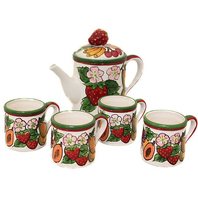 Fruit Medley Collection Hand-painted 5-piece Tea Set