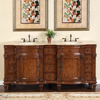 Silkroad Exclusive Travertine Stone Top Bathroom Double Vanity Lavatory Sink Cabinet (72-inch)