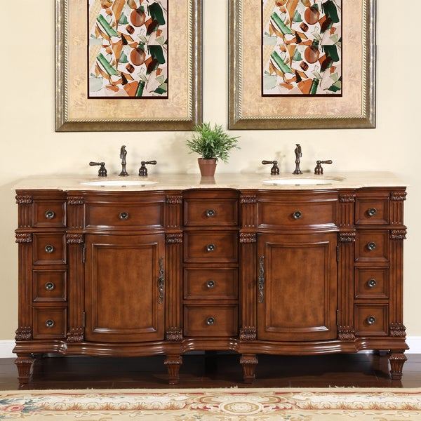 Silkroad Exclusive Travertine Stone Top Bathroom Double Vanity