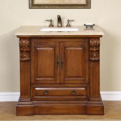 Silkroad Exclusive Travertine Stone Top Bathroom Single Vanity Lavatory Sink Cabinet (38.5-inch)