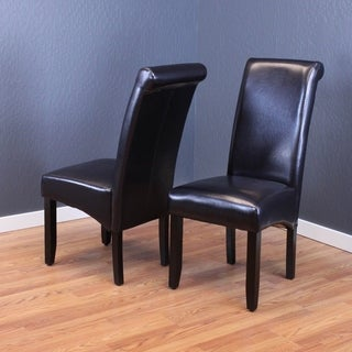 milan faux leather black dining chairs set of 2
