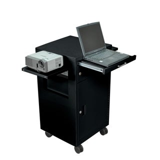 Luxor Black Multimedia Cart with Locking Cabinet