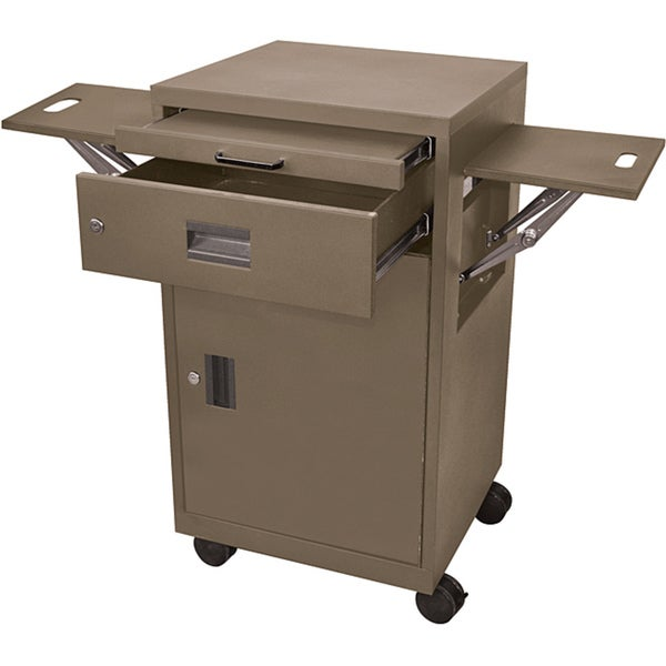 Luxor Brown Multimedia Cart with Locking Cabinet