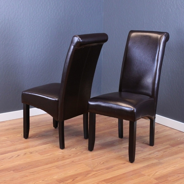 Black Leather Kitchen Chairs: Milan Faux Leather Dark Brown Dining Chairs (Set Of 2