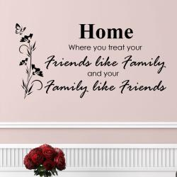 Vinyl 'Home, Where You Treat Your Family Like Friends' Wall Decal