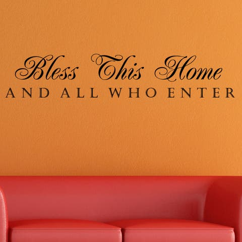 Vinyl 'Bless This Home and All Who Enter' Wall Decal
