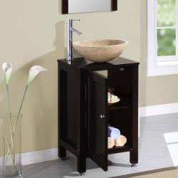 Silkroad Exclusive Modern Bathroom Stone Vessel Vanity