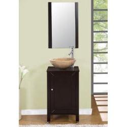 Silkroad Exclusive Modern Bathroom Stone Vessel Vanity Lavatory Single Sink Cabinet (19-inch) - Thumbnail 2
