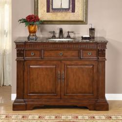 Silkroad Exclusive 48-inch Stone Top Bathroom Vanity Lavatory Single Sink Cabinet