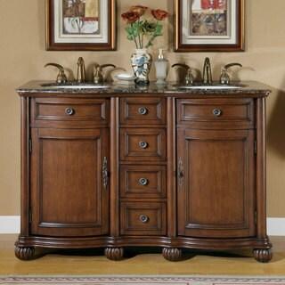 Silkroad Exclusive Granite Stone Top 52-inch Double Sink Cabinet Bathroom Vanity