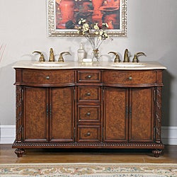 Silkroad Exclusive Travertine Stone Top 60-inch Double Sink Cabinet Bathroom Vanity