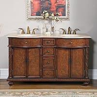 Silkroad Exclusive Travertine Stone Top 60-inch Double Sink Cabinet Bathroom Vanity