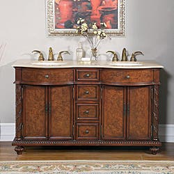 double sink vanity 60 inch. Silkroad Exclusive Travertine Stone Top 60 inch Double Sink Cabinet  Bathroom Vanity 51 Inches Vanities Cabinets For Less