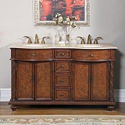 vanity double sink 60. Silkroad Exclusive Travertine Stone Top 60 inch Double Sink Cabinet  Bathroom Vanity Size Vanities 51 Inches