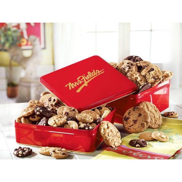 Mrs. Fields 24 Nibbler Cookies Classic Tin