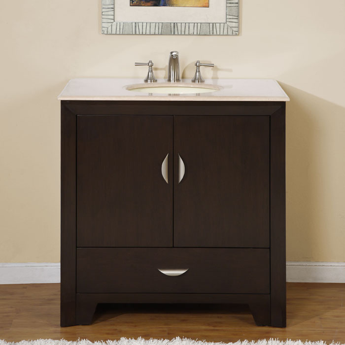 silkroad exclusive 36-inch marble stone top bathroom vanity