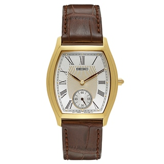 Seiko Men's Tonneau Shape Brown Leather Strap Watch