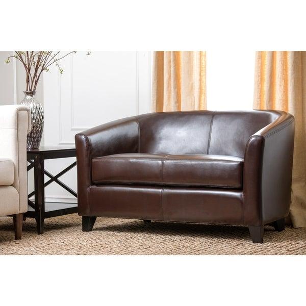Abbyson Montecito Bicast Leather Loveseat