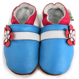 Blue Hawaii Flower Soft Sole Leather Baby Shoes