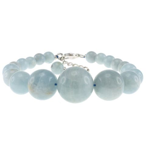 Pearlz Ocean Sterling Silver Aquamarine Journey Round Beads Strand Bracelet