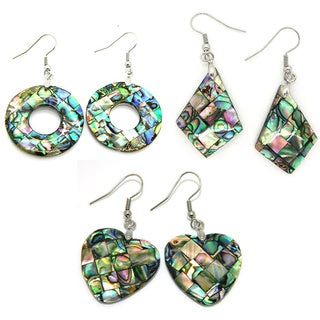 Pearlz Ocean Abalone Round Cut-out Dangle Earrings
